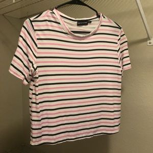 PrettyLittleThing Black and Pink Stripped Top